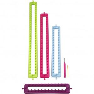 Strikkeringsett / Knitting ring Set Avlange - 4 størrelser inkl. nål og krok