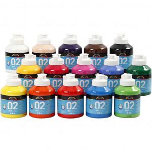 Bilde av A-color Akrylmaling, 15x500 Ml, Ass. Farger