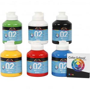 Bilde av A-color Akrylmaling, 6x500 Ml, Primærfarger