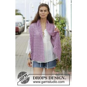 French Lavenderav DROPS Design - Stola Hekleoppskrift 157x36 cm.