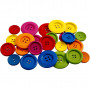 Treknapper, dia. 25-40 mm, hullstr. 2-3 mm, 144 stk., ass. Farger, Kinesisk Bærtre