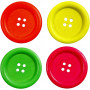 Treknapper, dia. 35 mm, hullstr. 2 mm, 60 stk., neonfarger, Kinesisk Bærtre
