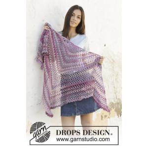 Fields of Joy av DROPS Design - Sjal Hekleoppskrift 162x78 cm