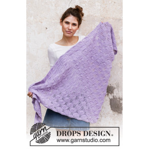 Lilac Bouquet av DROPS Design - Sjal Strikkeoppskrift 144x72 cm