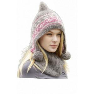 Sweet Winter Hat by DROPS Design - Lue og hals strikkeoppskrift str. S - XL