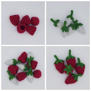 Karlas Bringebær av Rito Krea - Frukt Hekleoppskrift 9cm - 5 stk