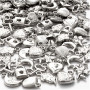 Sølvcharms, str. 15-20 mm, hullstr. 3 mm, 80g, ca. 178 stk.