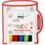 Mucki Glass- og porselenstusj, strektykkelse: 2-5 mm, 5 stk., ass. farger