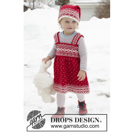Miss Cookie by DROPS Design Kjole Strikkeoppskrift str. 6 mnd 6 år