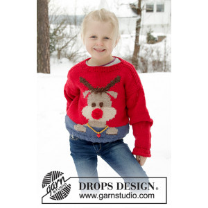 Red Nose Jumper Kids by DROPS Design - Genser Strikkeoppskrift str. 2-12 år