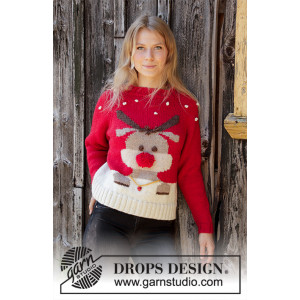 Red Nose Jumper by DROPS Design - Genser Strikkeoppskrift str. S-XXXL