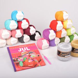 Julehækling Garnpakke med bogen Fin & farverig Jul du selv kan hækle af Lisbet Lücke Larsen