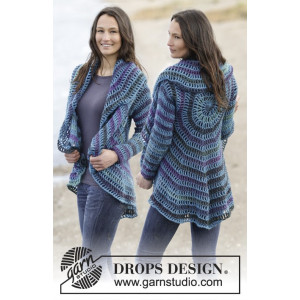 Gypsy Blue by DROPS Design - Jakke Hekleoppskrift str. S - XXXL