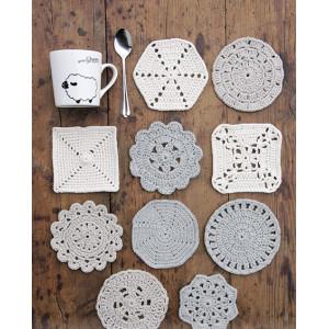 Bright Side Coasters by DROPS Design - Bordskånere Hekleoppskrift 10-12 cm