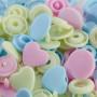 Prym Love Color Snaps Trykknapper Plast Hjerte 12,4mm Ass. Rosa/Blå/Grønn - 30 stk