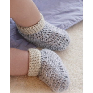 Baby Steps by DROPS Design - Baby Tøfler Hekleoppskrift str. 0 mdr - 4 år
