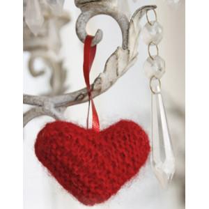 Sweet heart by DROPS Design - Julehjerte Julepynt Strikkeoppskrift 5 cm