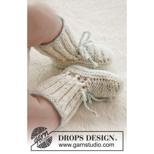 First Impression Booties by DROPS Design - Baby Tøfler Strikkeoppskrift str. prematur - 3/4 år