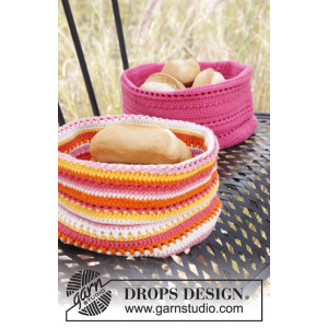 Al Fresco by DROPS Design - Stripet kurv Hekleoppskrift 20x26 cm