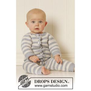 Baby Blues by DROPS Design - Baby heldrakt Hekleoppskrift str. 0/1 mdr - 3/4 år
