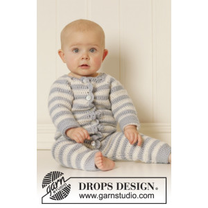 Baby Blues by DROPS Design - Baby heldrakt Hekleoppskrift str. 0 mdr - 4 år