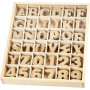 Trebokstaver og tall, H: 4 cm, tykkelse 2,5 mm, 288 stk., MDF