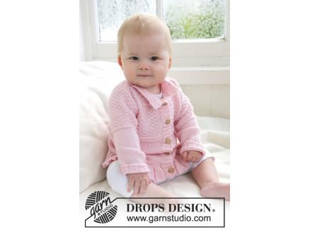Lea by DROPS Design Baby Jakke Strikkeoppskrift str. 1 mdr