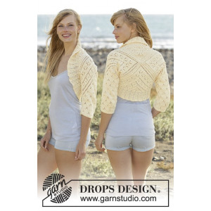 Lemon Cross by DROPS Design - Bolero Strikkeoppskrift str. S - XXXL