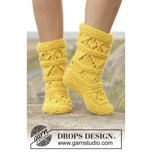 Lemon Twist by DROPS Design - Tøfler Strikkeoppskrift str. 35 - 42