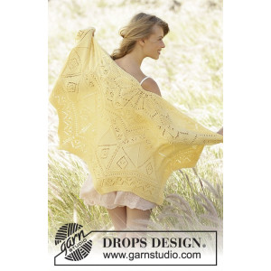 Spring Splendor by DROPS Design - Sjal Strikkeoppskrift 70x140