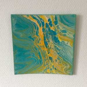 Acrylic Pouring av Rito Krea - Pouring Painting 20x20 cm