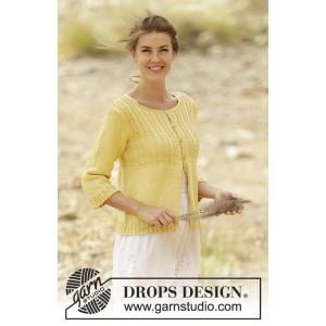 Golden Blossom by DROPS Design - Cardigan Strikkeopskrift str. S - XXXL