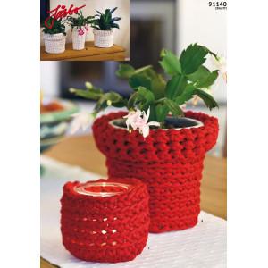 Hoooked Potteskjuler til urtepotte og Telys - 3 stk. Potteskjulere Hekleoppskrift