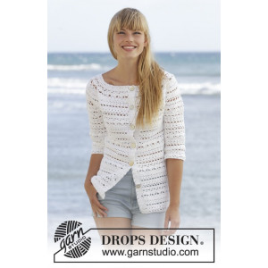 Seashore Bliss Cardigan by DROPS Design - Jakke Hekleopskrift str. S - XXXL