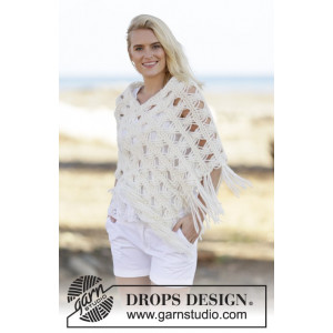 Late in August by DROPS Design - Poncho Strikkeoppskrift str. S/M - XXL/XXXL