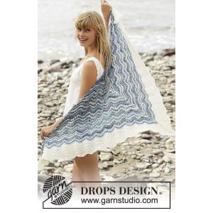 Mer Bleue by DROPS Design - Sjal Strikkeoppskrift 166x75 cm