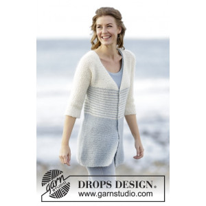 Irish Sea Cardigan by DROPS Design - Jakke Strikkeoppskrift str. S - XXXL