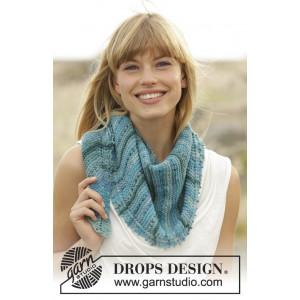 Blue Rapids by DROPS Design - Sjal Strikkeoppskrift 140x33 cm