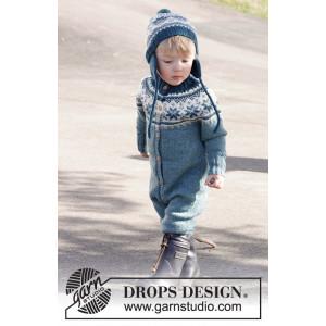 Wild Blueberries by DROPS Design - Heldrakt og Lue Strikkeoppskrift str. 12 mdr - 6 år