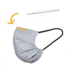 Nesebøyle/Neseklemme til Munnbind/Masker med Lim Aluminium Sølv 5x90mm - 10 stk