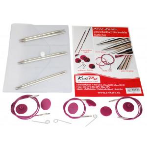 KnitPro Nova Metall Utskiftbare rundpinnesett Messing 60-80-100 cm 4-6 mm 3 størrelser Startsett