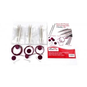 KnitPro Nova Metall Utskiftbare rundpindesett Messing 60-80-100 cm 9-12 mm 3 størrelser Chunky