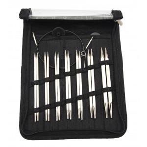 KnitPro Nova Cubics Utskiftbare rundpinnesett Messing 60-80-100cm 4-8mm 7 størrelser