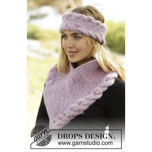 Braided Warmth by DROPS Design - Pannebånd og Hals Strikkeoppskrift S - L