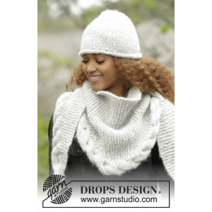 Winter Cozy by DROPS Design - Lue og Sjal Strikkeoppskrift str. S/M - L/XL og 165x45 cm
