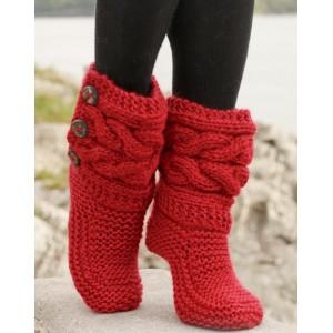 Little Red Riding Slippers by DROPS Design - Tøfler med fletter Strikkeoppskrift str. 35 - 42