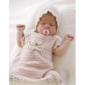 Beth by DROPS Design - Baby Kjole Hekleoppskrift str. 0 mdr - 4 år