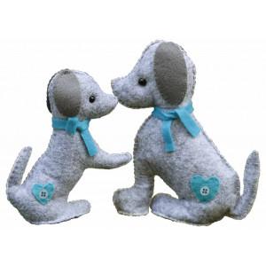 Go Handmade Sykit Hundene Mulle og Julle 18 cm og 15 cm