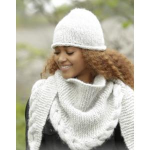 Winter Cozy by DROPS Design - Lue og Sjal Strikkeoppskrift str. S/M - L/XL og 165x45 cm