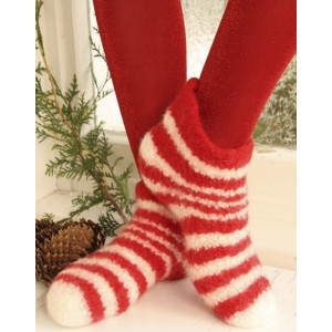 Christmas Slippers by DROPS Design - Tøfler Filtet Strikkeoppskrift str. 35 - 44